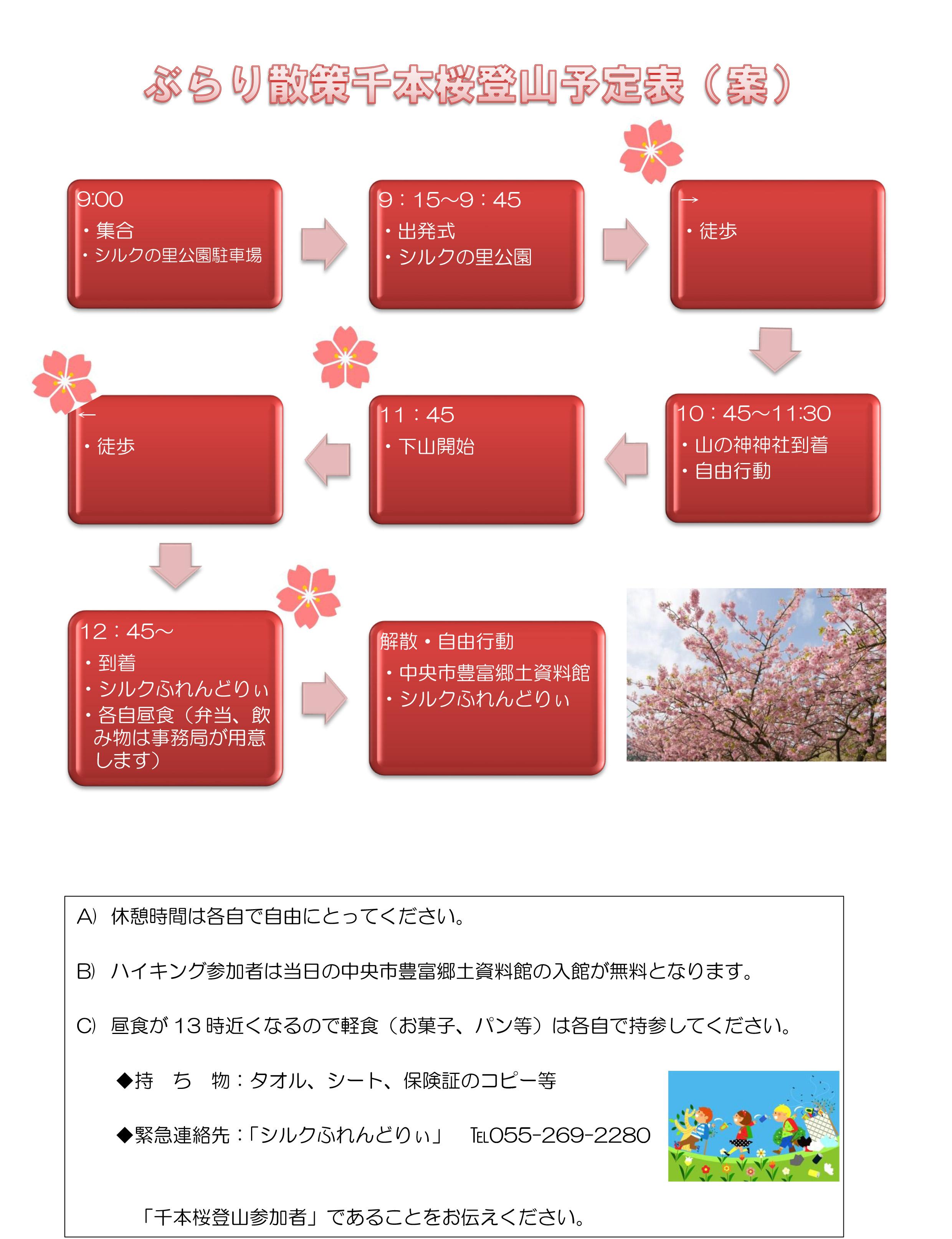 ぶらり散策千本桜登山予定表